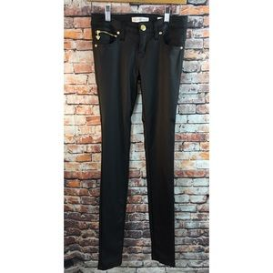 Guess Faux Leather Coated Skinny Blk Pants